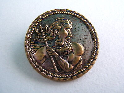 """Antique Victorian Brass Picture Button Large 1 3/8"""" Poseidon / King Neptune"""