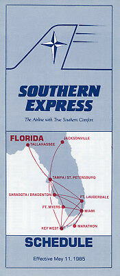 Southern Express May 11, 1985 System Timetable - Florida intra-state airline
