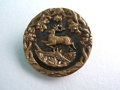 """Antique Victorian Brass Picture Button Large 1 1/2"""" Running Leaping Jumping Deer"""