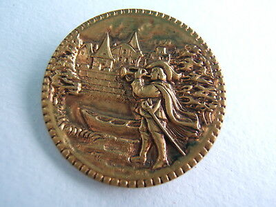 """Antique Victorian Brass Picture Button Large 1 1/2"""" Trumpeter of Sackingen"""