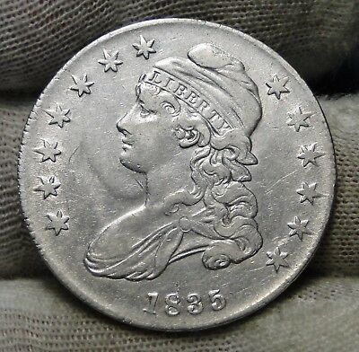 1835 Capped Bust Half Dollar 50 Cents - Nice Coin Free Shipping  (7355)