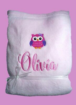 Personalised Baby Blanket Cot Pram Owl Any Name 75cmx 90cm Gift Embroidery