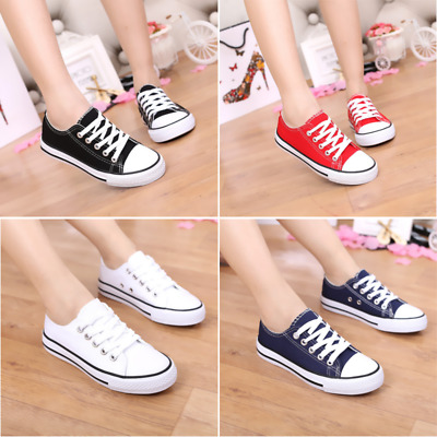 Girls Kids Toddler Lace Up Canvas Plimsolls Pumps Flat Trainers Retro Shoes New