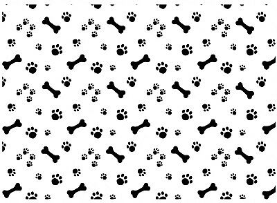"Allover Dog Bone Paw Prints  5""X7"" Card Fused Glass Decals 18CC1008"