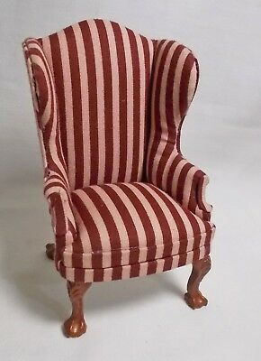 "Dolls House Miniature 1.12th (1"") Scale Furniture Queen Anne Red Striped Chair"