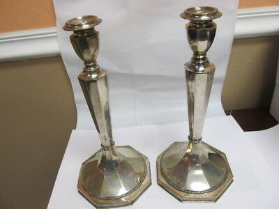 "900 Silver Pair Fine Candlesticks 12 ¼"" T W/ 8 Sided Bases Removable Tops Xlnt"