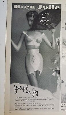 1954 BIEN JOLIE women's girdle bra with French accent vintage ad