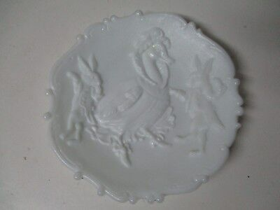 Old Milk Glass Easter Plate - Lady Duck w Dancing Rabbits