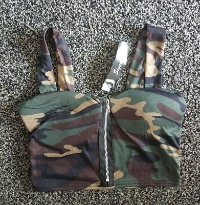 Lovely Ladies Girls Size M/L Camo Crop Padded Top Bnwt