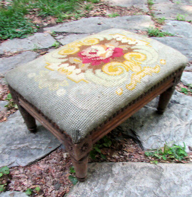 Antique French Walnut Wood & Needlepoint Foot Stool - Late 19Th C