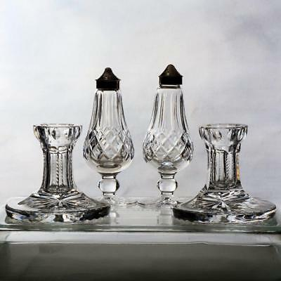 4 Pieces Of Signed Waterford-Pair Of Salt & Pepper & Pair Of Short Candlesticks