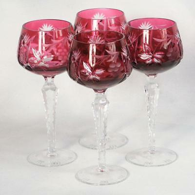 """Set Of 4 Nachtmann """"traube"""" Cut To Clear Wine Hocks - Cranberry/red 8"""" High"""