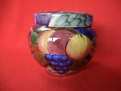 Vintage Oldcourt Ware Handpainted Fruit Lustre Ware Rose/flower Bowl With Lid
