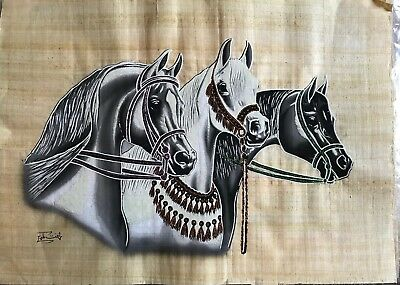 Original Horse Papyrus Glow In The Dark Painting Made In Egypt 23x16....