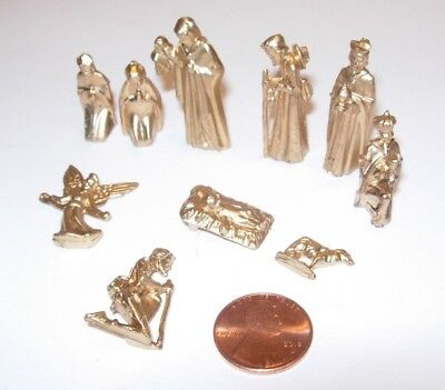gold Itty Bitty Collection For Small Trees 10 Piece Nativity Christmas figurines