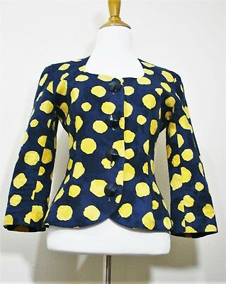 Vintage Victor Costa Navy Yellow Dots Fitted Button Front Jacket Vtg S