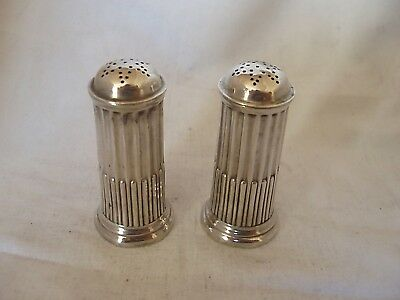 Pr Cylindrical Salt & Pepper Shakers Victorian Sterling Silver London 1886