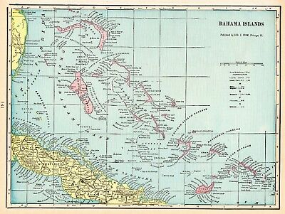 1902 Antique BAHAMAS Map Vintage Map of The Bahama Islands Crams Map  5534