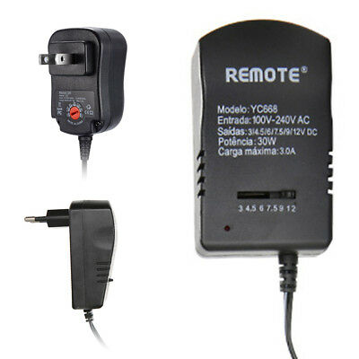 Universal Adjustable AC 110V - 220V To DC 3-12V Power Supply Adapter EU US Plug