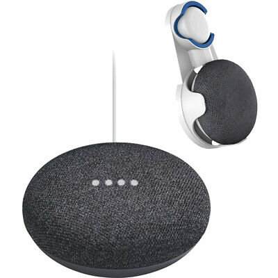 Google Home Mini Home Smart Speaker with Google Assistant Charcoal + Wall Mount