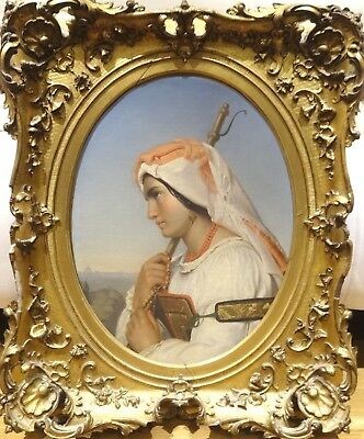 Fine Large 19th Century Italian Shepherdess Lady Portrait Antique Oil Painting