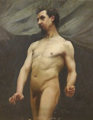 Fine Large 19th Century English Studio Nude Man Portrait Antique Oil Painting