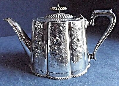 GOOD Victorian ENGRAVED ~ SILVER Plated ~ TEAPOT ~ c1890