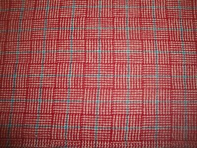 "2 Yds Vintage Wool Fabric 60"" wide Red Check with Blue Stripe"