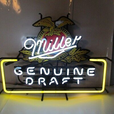 Vintage Miller Mgd  Beer American Eagle Neon Lit Bar Sign Clean
