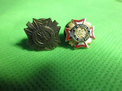Lot of 2 VFW Veterans of Foreign Wars Vintage Commander PINs one screw back