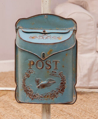 Antique Vintage Style Bird Mailbox Letter Wall French Country BLUE Cottage Post