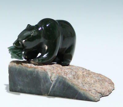 Handcarved Canadian Green Jade Bear on Rock             #as210