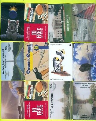 Lot of 12 VINTAGE Phone CARDS PREPAID CALLING CARDS