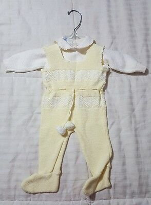 Vintage Baby Outfit Gender Neutral Knit 100% Cotton Made In Isreal WPL 7502