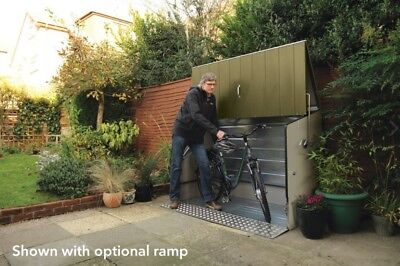 Trimetals Bike Shed (M. with Ramp) - Store up to 3 adult Bicycles or 1 Motorbike