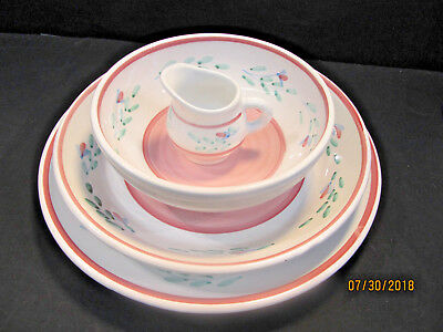 "Caleca  ""pink Garland"" Accessory Pieces: Chop Plate, Pasta & Serving Bowls, Etc."