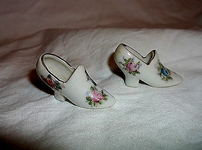 """2 Made In Japan Miniature Flowered Shoes 3/4"""""""