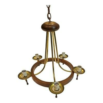 Danish Modern CEILING LIGHT FIXTURE mid century hanging lamp gold brass pendant