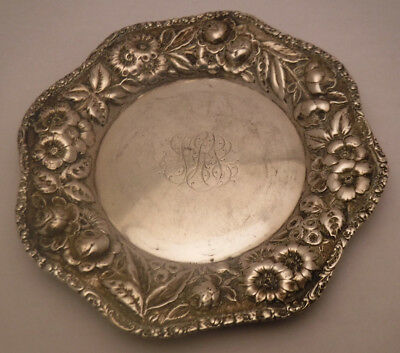 Schofield ? Baltimore Rose Sterling Silver 925 Fine Repousse Bread Plate Antique
