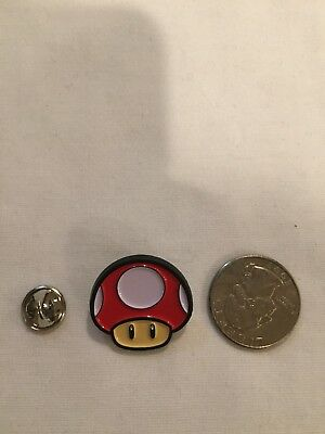 Nintendo Mario Brothers Red Mushroom Enamel Lapel Pin Free Shipping Within USA
