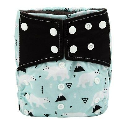 Baby Cloth Diaper Nappy Cover Bamboo Charcoal Reusable Gussets Polar Bear