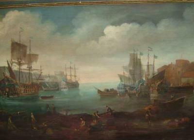 Massive 18Th Century Marine Oil - French ? - Old Master - Dirty Seascape Fake !!