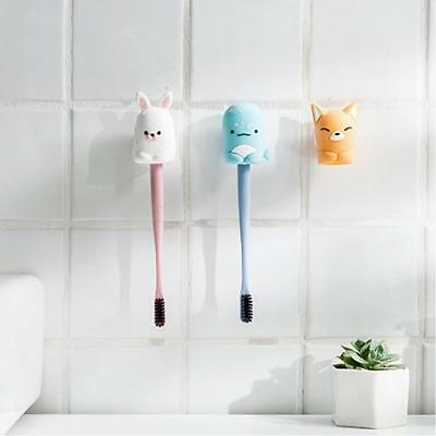 Kids Cartoon Animal Suction Sucker Cup Cover Toothbrush Wall Holder C