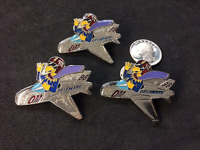 Delaware Odyssey of the mind Airplane Blue Hen Pin 1998 OM Lapel Pin Lot (3)
