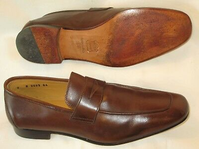 d4bee8ccbb6 John Nordstrom Mens Italian Penny Loafers Dress Shoes Sz 9 M Brown Leather