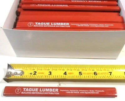 "Lot Of 72 Flat Red Color Carpenters Pencils  Black Lead Approx.7"" Long Misprints"