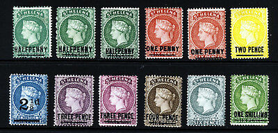 ST. HELENA QV 1884-94 Surcharged Set Watermark Crown CA P.14 SG 34 to SG 45 MINT