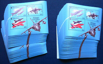 100 x Gibraltar 2001 Bl. 46 ** MNH Flugzeuge Wings of Prey Michel 500,-- € Engro