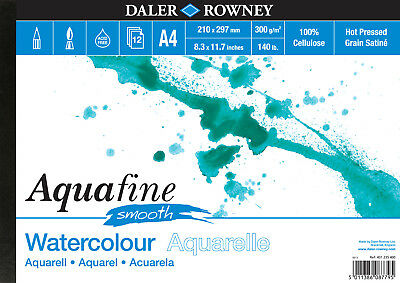 Daler Rowney A4 AQUAFINE SMOOTH Landscape Watercolour Pad 300gsm Hot Pressed