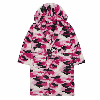 4Kidz Girls Camouflage Hooded Dressing Gown Pink